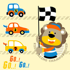 cars racing cartoon with funny lion