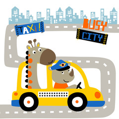 Yellow taxi cartoon with funny animals