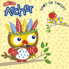 Cute owl cartoon the best archer