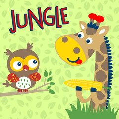 Nice giraffe cartoon and owl on leaves background