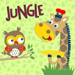 Nice giraffe cartoon and owl on leaves background