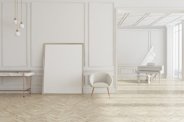 White living room with piano and poster
