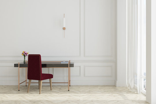 White home office, dark red chair