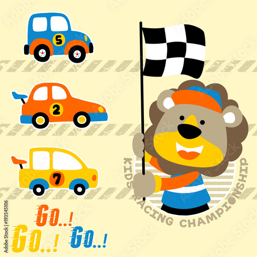 Cars Racing Cartoon With Funny Lion Stock Image And Royalty Free