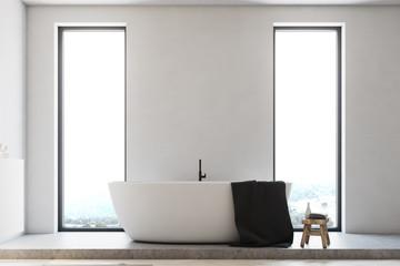Minimalistic bathroom, white tub toned