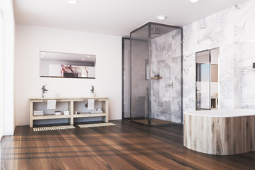 Gray marble bathroom corner, shower
