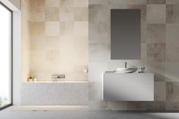 White tiled bathroom interior
