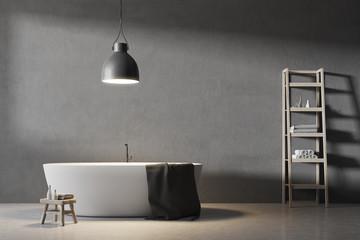 Gray bathroom interior, round tub