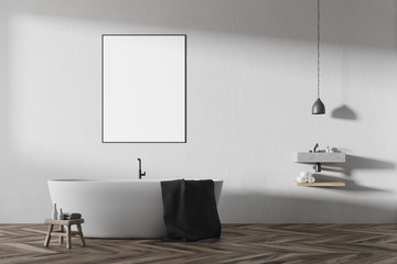 White bathroom interior, round tub, poster