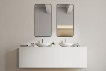 White sink vanity unit in a white bathroom