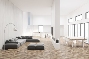 White living room with a wooden floor