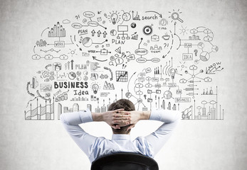 Businessman with hands behind head, business plan