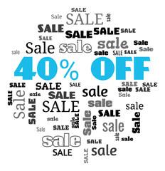 a 40 percent sale text cloud