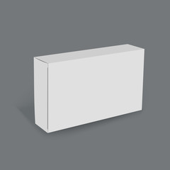 3D horizontal white box on gray background, mock up template ready for your design and advertising
