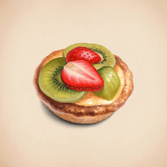 Watercolor illustration of cake with fruits