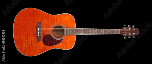 Musical Instrument Flame Maple Acoustic Guitar Black Background