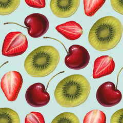 Watercolor illustration of fruits. Seamless pattern