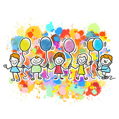 Happy kids together with balloons