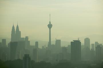 Foto op Aluminium Kuala Lumpur kuala lumpur skyline view with fog