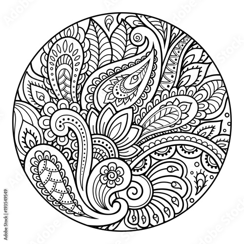 outline round floral pattern for coloring the book page antistress