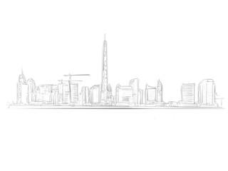 Dubai Skyline Landmark Sketch