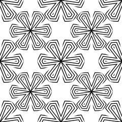 Modern stylish texture. Repeating geometric tiles, linear grid. Contemporary graphic design. Odered background. Black and white tile. Vector seamless pattern.