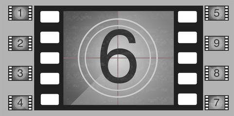 Movie countdown numbers vector set. The countdown to the start of the old film.