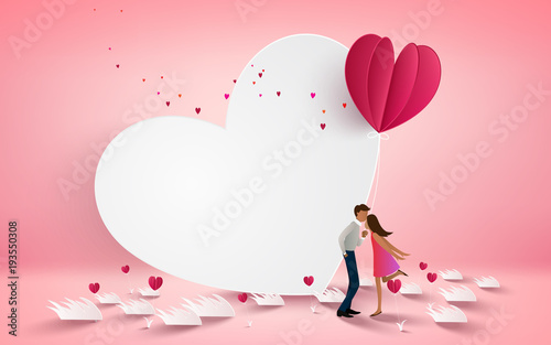 A Couple Kissing On White Heart Background With Flower Love Concept Valentines Day