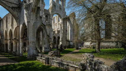 Ruins of monastery Abbaye de Jumièges / Jumièges Abbey in Normandy, France