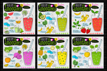 Healthy smoothie receipes set. Hand drawn vector illustration sketch style. Fruits, vegetables, juice.