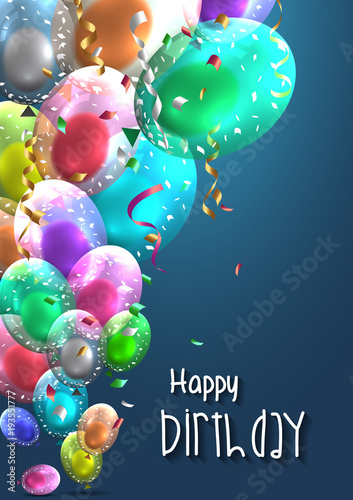 Birthday Balloons Template Luxury Shiny Colorful Vector Graphic Illustration Of A Happy