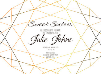 Simple template for wedding or birthday invitation, brochure, poster or business card. Gold diamond shape on white background.