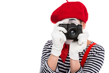 mime taking photo with film camera isolated on white