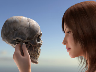 woman holding a human skull