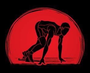 Athlete runner, A man prepare start running action designed on sunlight background graphic vector