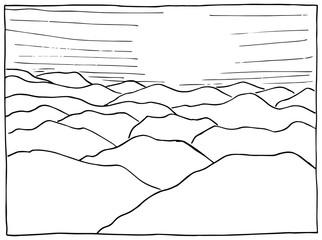 handgezeichnete Hügel Landschaft