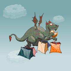 green dragon magic cartoon fantasy