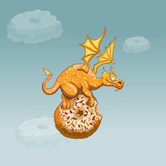 orange dragon magic cartoon fantasy