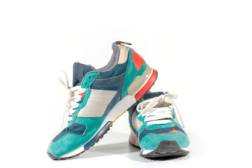 Beautiful fashion running shoes over white background.