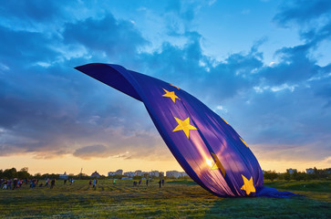 The world's largest flag of the European Union in the sky