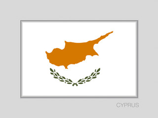 Flag of Cyprus. National Ensign Aspect Ratio 2 to 3 on Gray