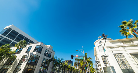 Panoramic view of Dayton way and Rodeo Drive crossroad
