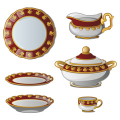 Ancient decorative set of dishes. Collection of plates, tureens, cups and a jug for cream. Vector illustration isolated on white background