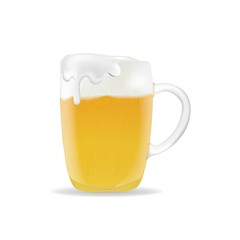 3055069 beer mug with foam on white background