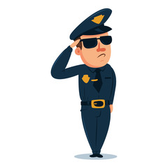 Cute policeman cartoon character. Police officer in traditional uniform. Vector illustration people of different professions isolated on white background.