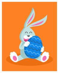 a cute rabbit cartoon  related to Easter celebration