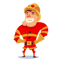 Cute fireman in helmet cartoon character. Firefighter in traditional uniform. Vector illustration people of different professions isolated on white background.