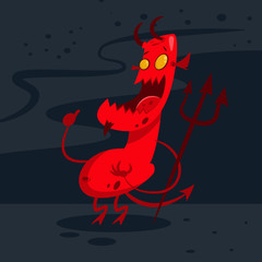 Devil in hell. Demon with horns, tail and trident. Vector cartoon illustration of a red monster.