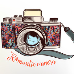 Fashion illustration with camera in colorful flowers