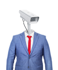 A hollow costume with a head in shape of surveillance camera on a white background